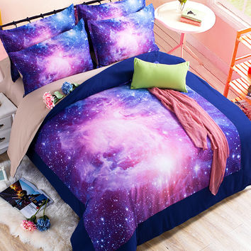 3D Galaxy Bedding Sets 2/3/4pcs Universe Outer Space Duvet cover Bed Sheet / Fitted Bed Sheet pillowcase Twin queen king