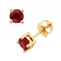 The Regal Collection 14k Gold Genuine Ruby Stud Earrings (Red)