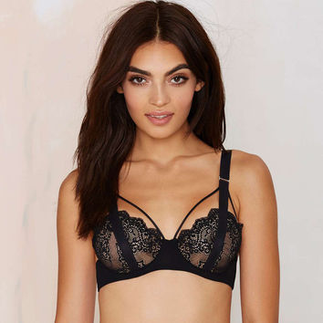 Lilah Lace Bra Cut Out Unlined Bralette Fashion Cage Brassiere Cute Crop Top Sexy Intimate Underwear Black