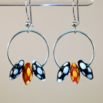 Christmas sale sterling silver ear wires glass and silver hoop fashion drop earrings vibrant color lampwork dot beads unique artisan style