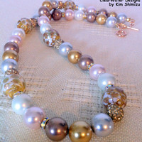 Hand Blown Glass Jewelry, Glass Blown Beads, Pearls Crystal Necklace, Pave Crystal Balls, Karen Hill Tribe Silver, Rose Gold Vermeil Clasp