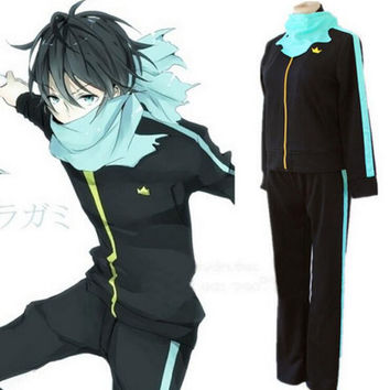 Noragami Yato Cosplay Costume Sports Clothes Coat Outfit+Pants+Scarf Whole Set