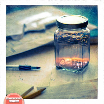 Square digital download, instant printable art, surrealism, fine art photography, summer in a jar, desk, sunset, beach, wall art home decor