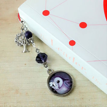 Night owl glass bookmark, purple, grey, pagemarker, gift