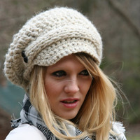 Newsboy Slouchy Hat / The Evreux / Hand Crocheted With Knitted Front Strap and Two Buttons On Each Side Wheat White