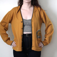 Vintage 60s Varsity Letterman Cardigan Sweater // Mustard Yellow // Virgin Wool // Size Medium Large