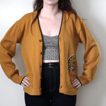 vintage 60s varsity letterman cardigan sweater mustard yellow virgin wool