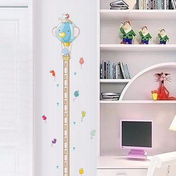 Cartoon Animals Elephant Cat Height Measure Wall Stickers For Kids Rooms Height Chart Ruler Wall Decals Home Decor Poster Mural