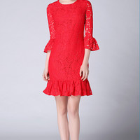 Red Fishtail Lace Dress