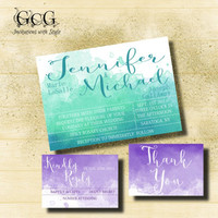 Purple and Teal Watercolor Wedding Invitation suite, watercolor wedding. Watercolor wedding invitation kit Watercolor invite Printable