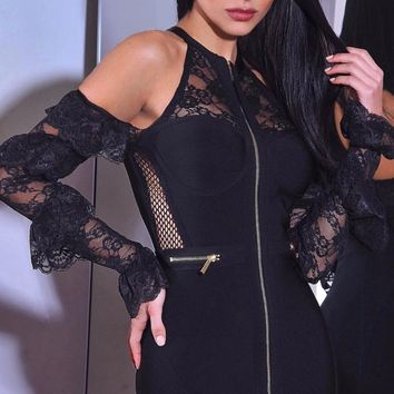 Powering Through Black Sheer Mesh Lace Sleeveless Zip Front Round Neck Ruffle Bandage Mini Dress