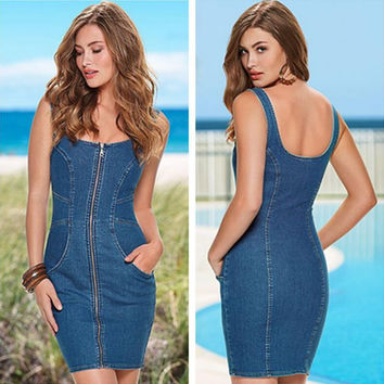 Blue Denim Front Zippered Sleeveless Dress