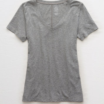 Aerie V-Neck Real Soft® Tee, Dark Heather