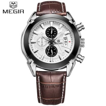 New Luxury Brand MEGIR Brown Leather Band Chronograph Quartz Watch Men Sports Waterproof Wristwatch Clock Man relogio masculino