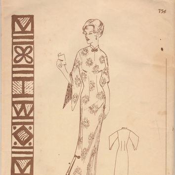 Polynesian Pattern 130 Hawaiian Muumuu Long Dress Size 16 Bust 36 Uncut Rare Vintage Hawaii Asian Style DIY Sewing Fashion