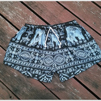 Elephant Shorts Hippie Hipster Clothing Boxers Aztec Ethnic Bohemian Ikat Handmade Thai Unique Bikini Sleepwear Nightwear Sexy Cute Summer