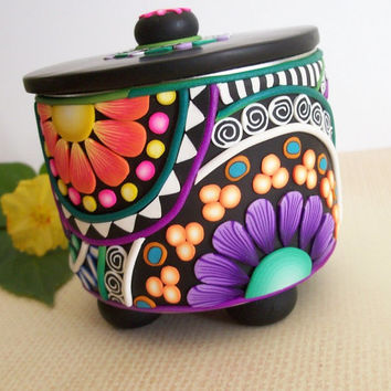 Mosaic Polymer Clay Box - recycled art can - kaleidoscope designs - mandala inspired