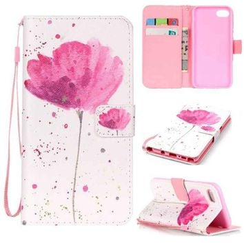 Luxury Flower Pattern Flip Leather Mobile Phone Case With Wallet Holder Card Slots Hand Strap Portable Protective Cover For iPho