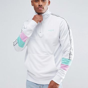 Illusive London Muscle Track Jacket In White With Half Zip at asos.com