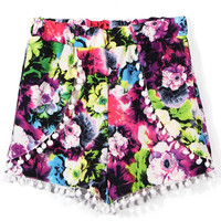 Floral Shorts with Pom Pom Detail
