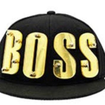 Snapback Black Hip Hop Cap Hat Acrylic BOSS 3D Gold Letters Rivet  Bolted