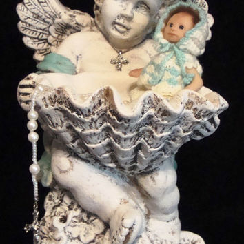 "OOAK Cherub Holding Ashton Drake ""Happy As a Clam"" Miniature Collectible Baby Doll by Artist Dorothy Steven Heavenly Hands Metal Crown"
