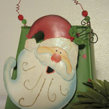 Vintage Wobbly Head Santa Green Tin Basket - Curly Wire Bead Handle - Christmas Holiday Decoration or Decor -Gift Idea Filled with Goodies
