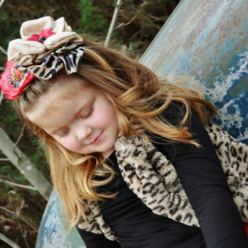 Baby Headband...Girls Headband...Cheetah Print...Red Flower Headband