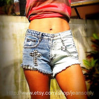 High waisted cut off shorts with removable cool key by Jeansonly