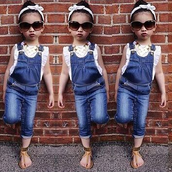 New Autumn Summer Kids Baby Girl Clothing Sets Little Girls Clothes Set Overalls Toddler Girl Clothing christmans