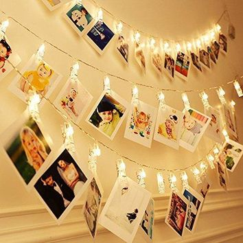 Photo Clip String Lights, WYNK 20 LED 17.5 FT Light String Bedroom Home Halloween Christmas Party Decorations Fairy Lights for Hanging Photos, Cards and Artwork (Battery Powered, Warm White)