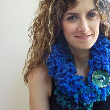 Warm Neck Warmer, Double Layer scarf, Royal Blu and Sky Blue infinity Scarf with Large Button
