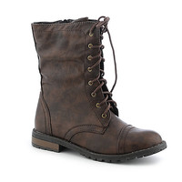 Buy Shiekh Womens PK-04 Brown Mid Calf Combat Boots | Shiekh Shoes
