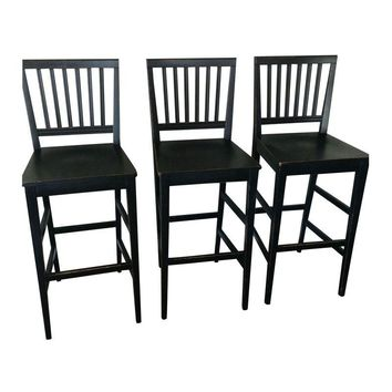 Pre-owned Crate & Barrel Black Distressed Bar Chairs - S/3