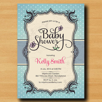 vintage Baby Shower Invitation Baby boy baby girl shower three colors to choose from, Baby shower invitation Design - card 295