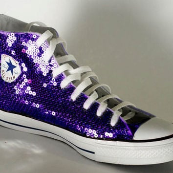 Grape Purple Sequin Converse All Star Hi from Princess Pumps 9533c4ba2