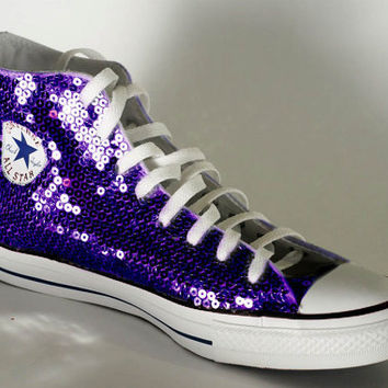 Grape Purple Sequin Converse All Star Hi from Princess Pumps 71fedb48580b