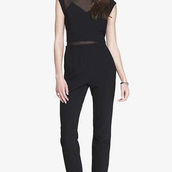 LAYERED MESH TOP JUMPSUIT from EXPRESS