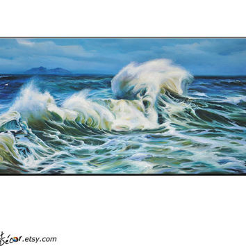 Original Art Large Oil Painting Landscape Art Landscape Painting Seascape Painting Seascape Art Ocean Wave Horizontal Painting