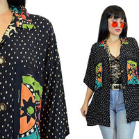 vintage 90s polkadot oversized blouse duster jacket neon new wave tribal print button up shirt top soft grunge medium large slouchy