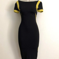 VERSACE COLLECTION!!! Vintage 90s 'Versace Collection' panelled, black and chartreuse, bodycon Lycra dress