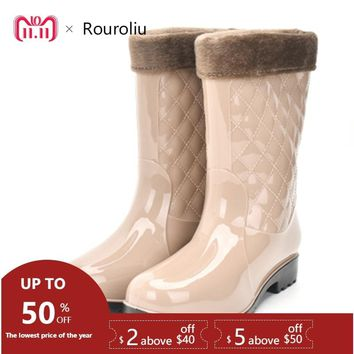 Rouroliu Women Non-slip PVC Rain Boots Waterproof Water Shoes Woman Wellies Mid-Calf Rainboots Winter Warm Inserts  RT171