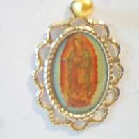Virgen De Guadalupe Medal Scalloped Pendant Religious Jewelry