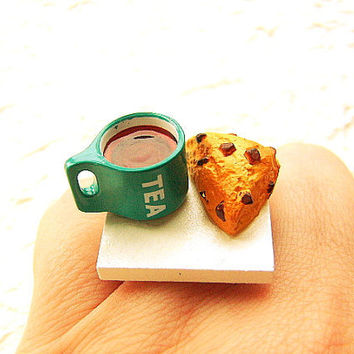 Tea Ring Kawaii Food Chocolate Chip Scone Ring by SouZouCreations