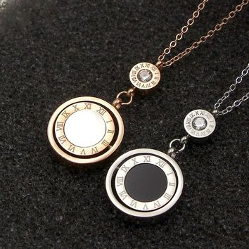 2017 Fashion Stainless Steel Rose Gold Color Screw Love Roman Numerals Shell Round Revolving Pendant Necklace Women Party Gift