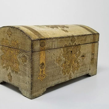 Large Florentine Wood Gold Leaf Painted Treasure Chest