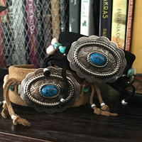 Eco Design Tribal Boho Leather Wrapped Cuff Bracelet