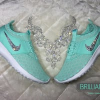 Swarovski Nike Shoes Bling Nike Juvenate Shoes Artisan Teal/White/Light Retro Customized with Swarovski Crystals Authentic New in Box Bling