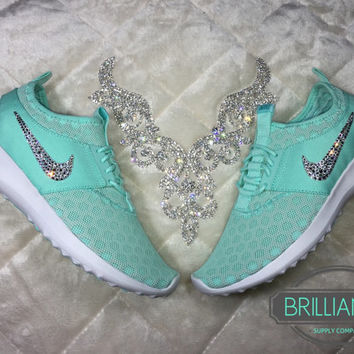 Swarovski Nike Shoes Bling Nike Juvenate Shoes Artisan Teal White Light  Retro Customiz e76fa9bb5