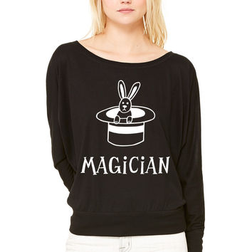 Magician WOMEN'S FLOWY LONG SLEEVE OFF SHOULDER TEE